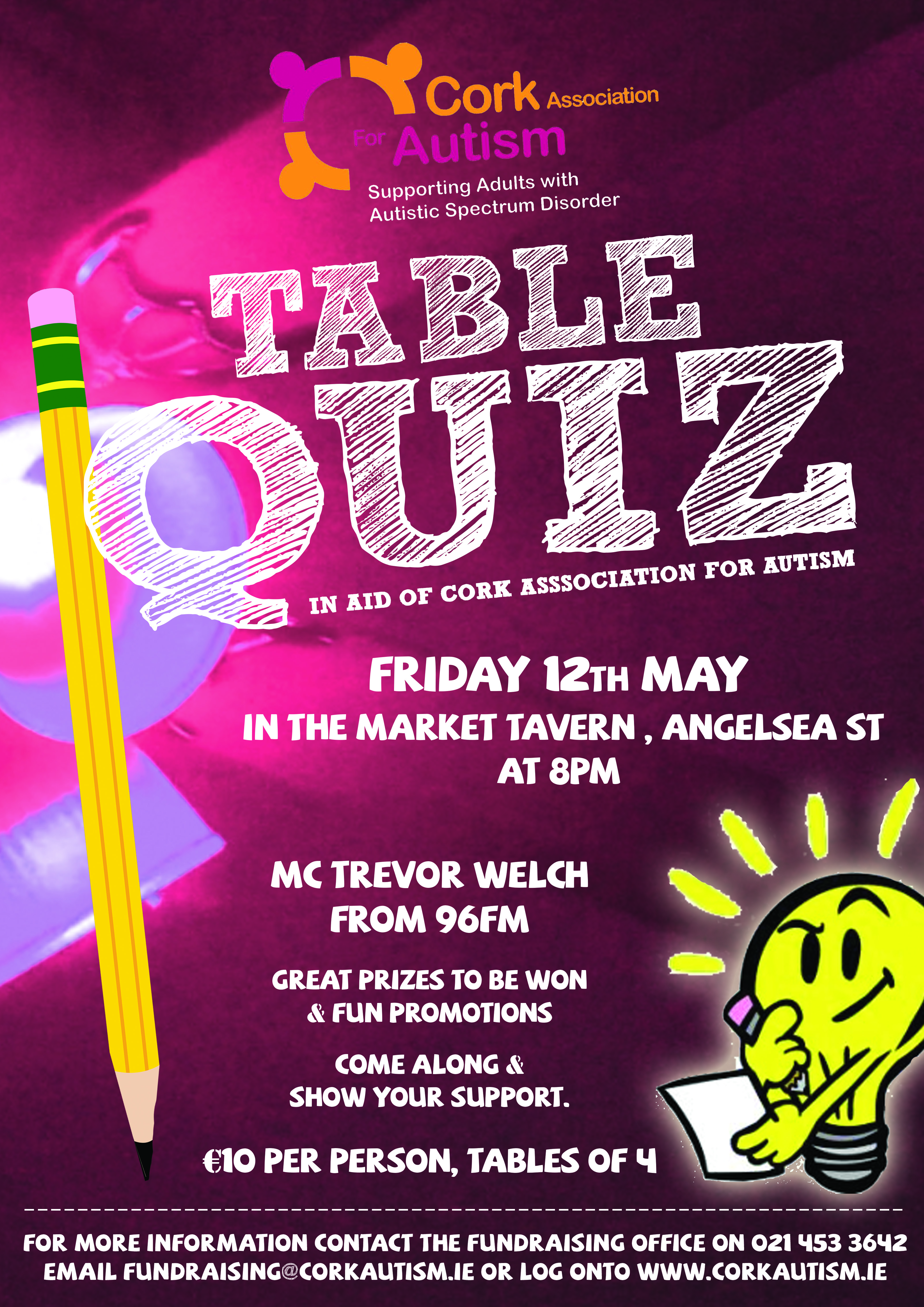 Table quiz in aid of caa cork autism for Table quiz hannover